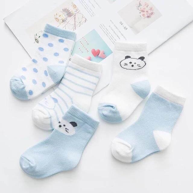 ถุงเท้าเด็ก ❤️im Baby ผ้าcotton สีลูกกวาดน่ารัก 1 เซต 5 คู่ (สำหรับ 0-10 ปี) อายุเด็กถุงเท้า เด็กชายหญิง By Im Baby.