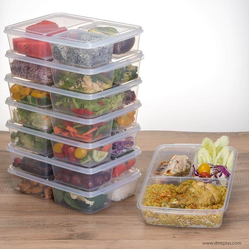ขาย ซื้อ ออนไลน์ Dmt กล่องใส่อาหาร ถนอมอาหาร เบนโตะ Grab Go 3 ช่อง 1 เซ็ต 8 ชิ้น No 9802