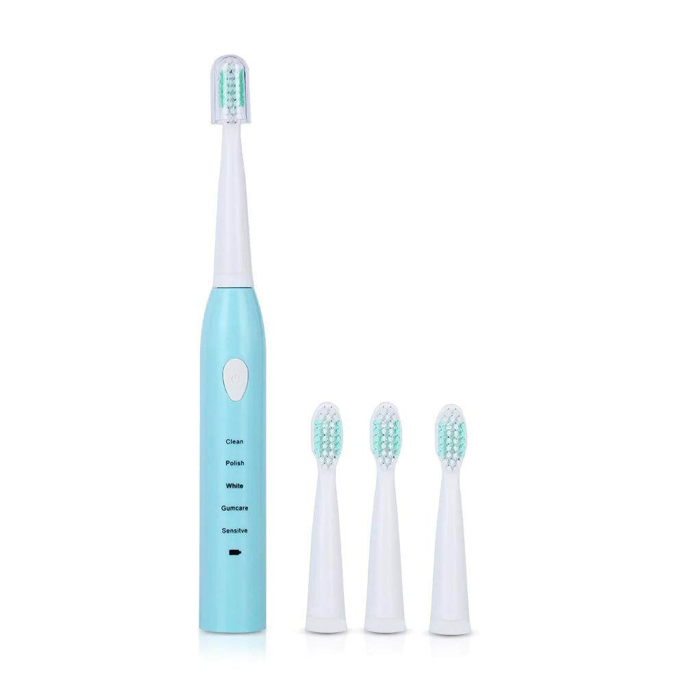 แปรงสีฟันไฟฟ้า รอยยิ้มขาวสดใสใน 1 สัปดาห์ มุกดาหาร 5 Functions Sonic Electric Toothbrush Rechargeable Teeth Tooth Brush USB Chargr with 4 Heads 2 Minutes Timer Oral Care Whitening
