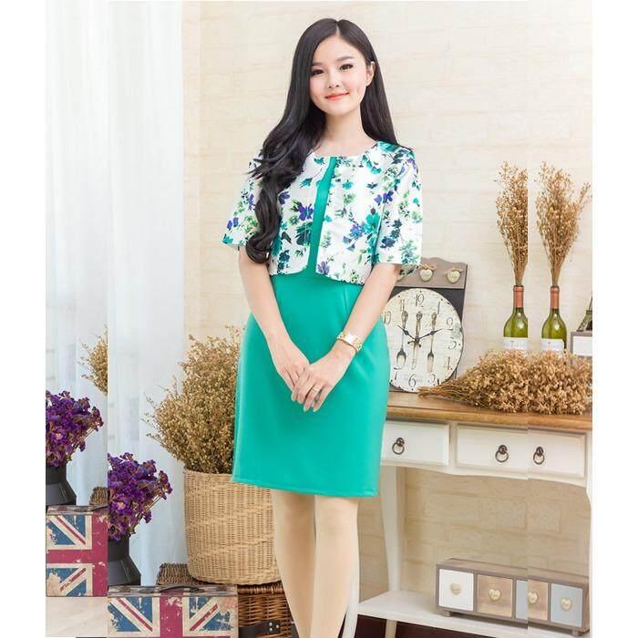 ส่วนลด Pitchaya ชุดเดรสตัวเสื้อเย็บแบบกั๊กผ้าไหมเนื้อเงาสวยหรูลายดอกไม้แขนศอก De549 สีเขียว Pitchaya