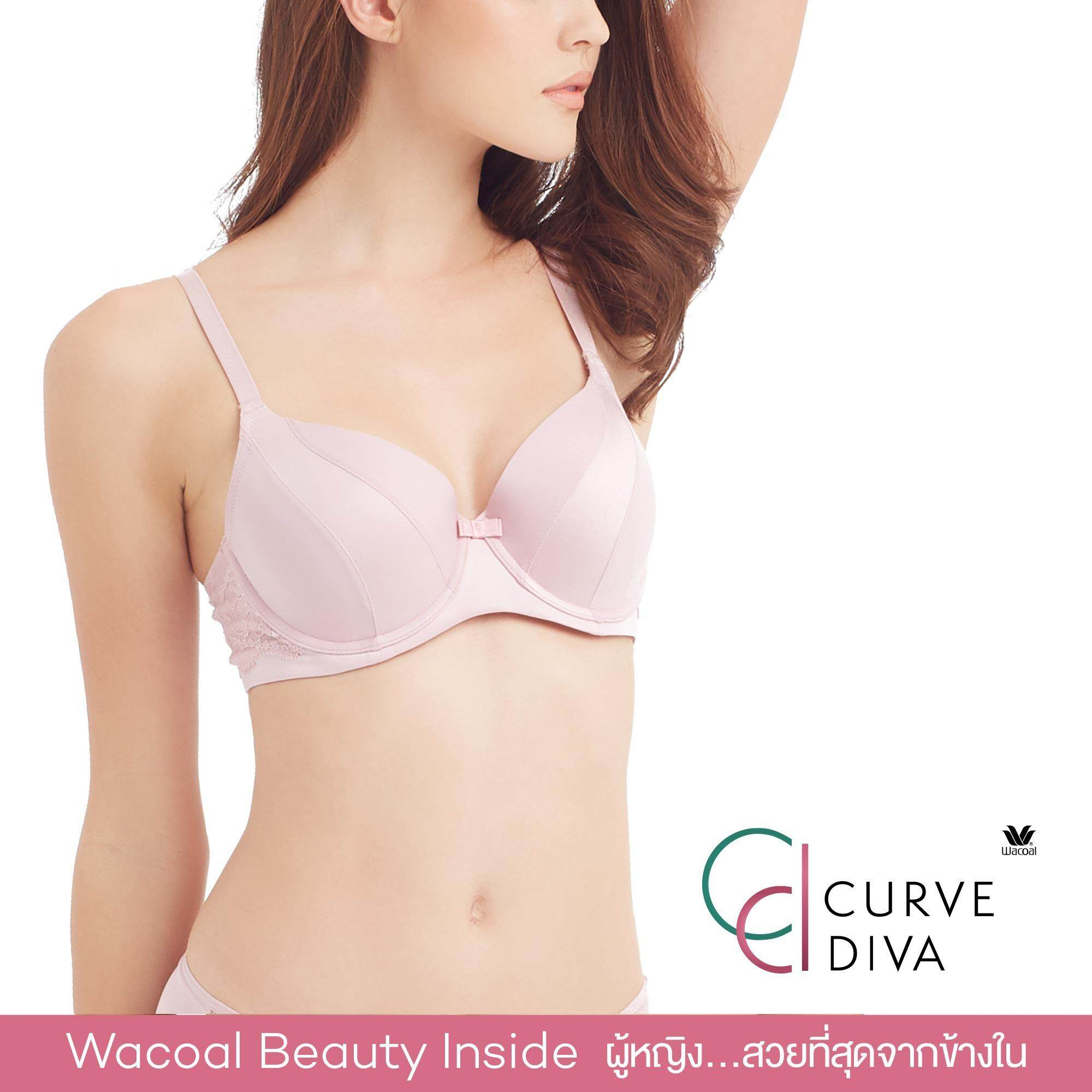 Wacoal Curve Diva Seamless bra 4/5 Cup (สีชมพูกุหลาบป่า/WILD ROSE) - WB7942WR