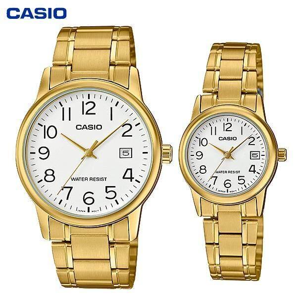 ซื้อ นาฬิกาเซ็ตคู่ ชาย หญิง Casio Standard นาฬิกาข้อมือ สายแสตนเลส รุ่น Mtp V002G 1B Vs Ltp V002G 1B ใหม่ล่าสุด