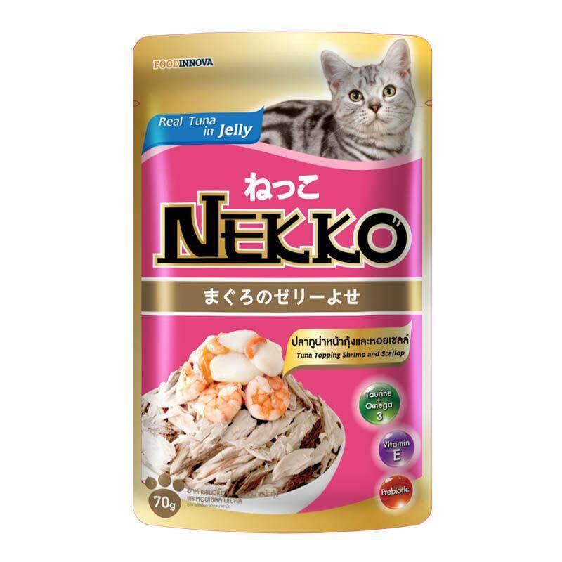 Nekko อาหารแมวเน็กโกะ ปลาทูน่าหน้ากุ้งและหอยเชลล์ 70 G. By Raybeck.