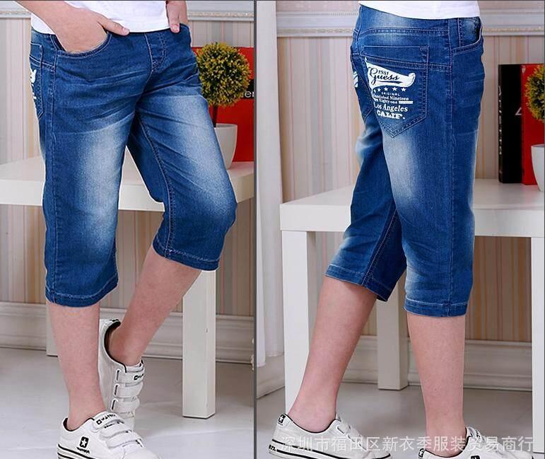 12-14 ขวบ กางเกงยีนส์ 5 ส่วน รุ่นใหญ่ เอวยางยืด สวมใส่สบาย