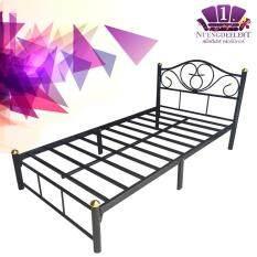 NDL เตียงเหล็ก 3.5 ฟุต ขาเหล็ก 2 นิ้ว (สีดำ)