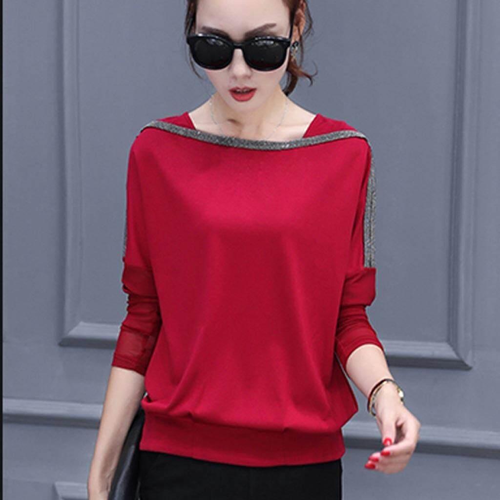 Mosha Fashions เสื้อแฟชั่น แขนยาวซีทรู สีแดง รหัส Flo905 กรุงเทพมหานคร
