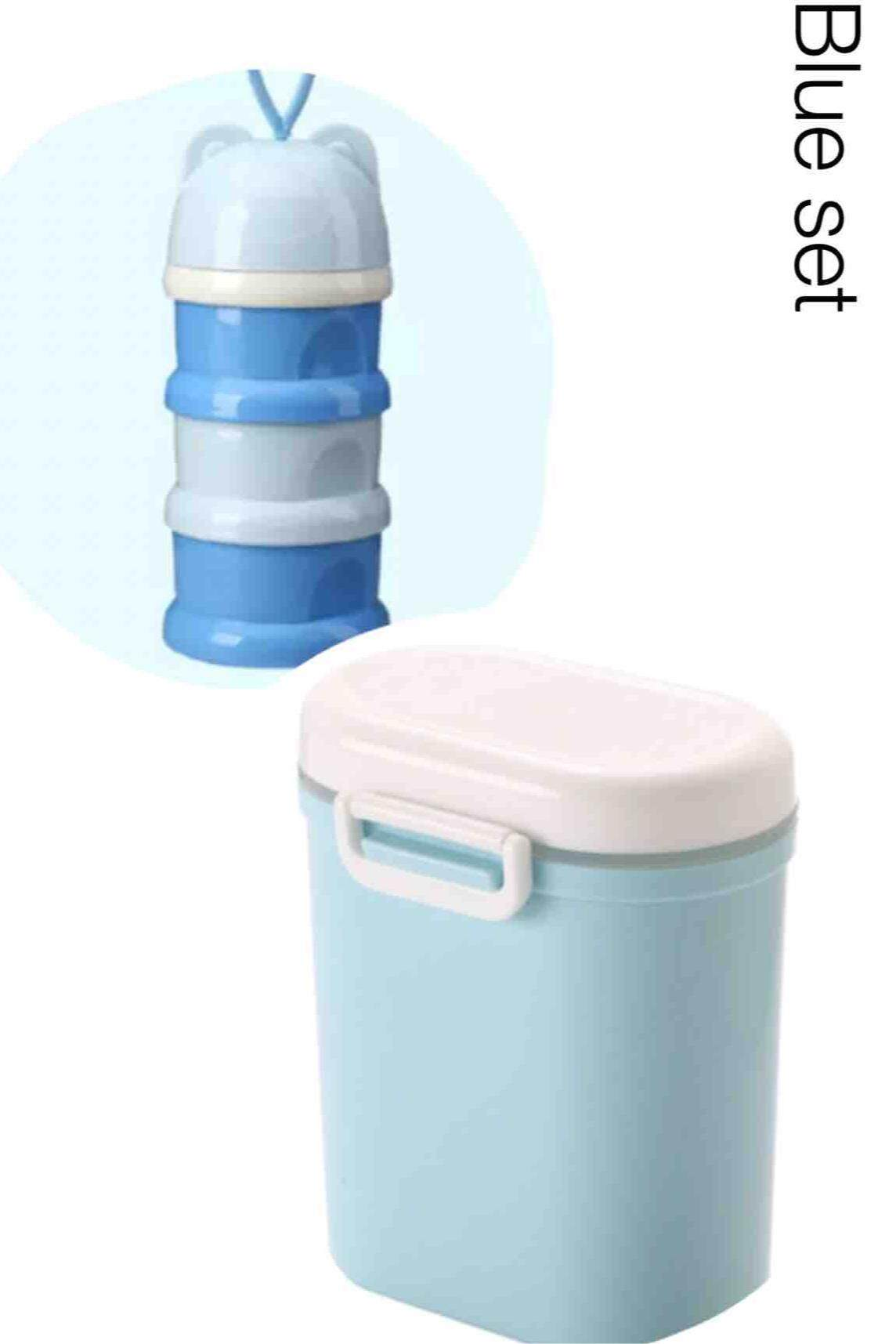 กล่องเก็บนมผงแบบสูญญากาศ 800 Ml + กล่องแบ่งนม 3 ชั้น สีฟ้า(ชุด Set สุดคุ้ม).
