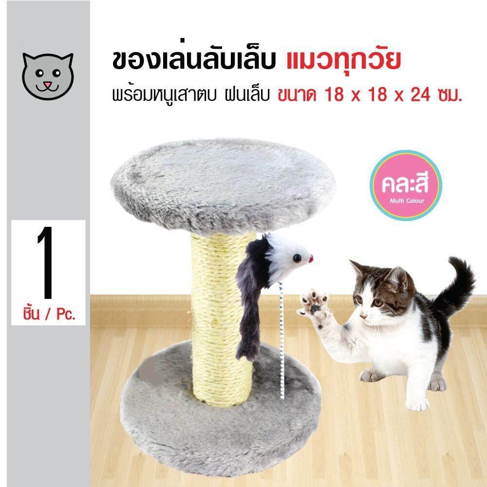 ขาย ซื้อ ออนไลน์ Cat Toys ของเล่นแมว เสาลับเล็บแมว พร้อมหนูสปริง คอนโดแมว สำหรับแมวทุกวัย ขนาด 18X18X24 ซม