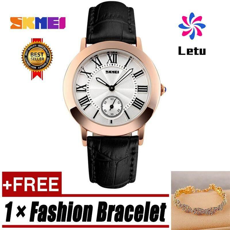 SKMEI 1083 Retro หนังนาฬิกาควอตซ์นาฬิกาสุภาพสตรีกันน้ำได้สำหรับผู้หญิง (24 พันสร้อยข้อมือทอง)