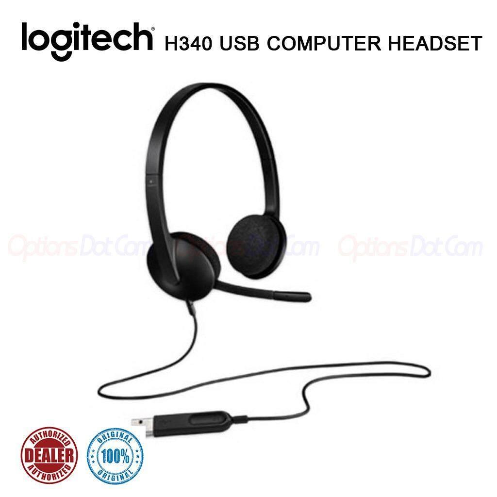 Logitech ชุดหูฟังสเตอริโอ USB พร้อมไมโครโฟน H340 (Black)