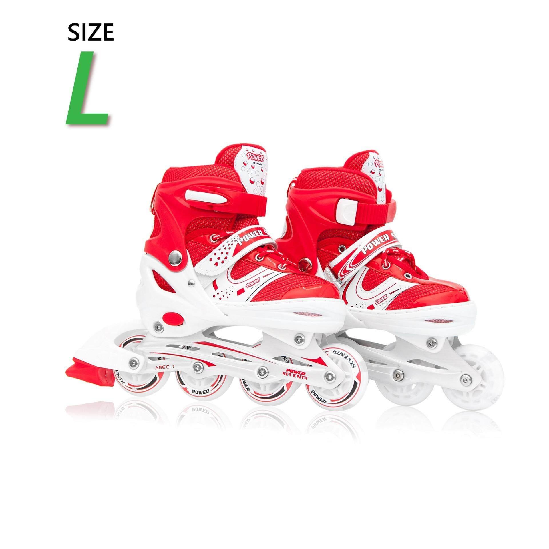 ขาย รองเท้าอินไลน์สเก็ต Premium Inline Skate Power Seventh Aluminium Tracks Abec 7 Wheels With Lights 0415A Warranty 1 Year เบอร์ 33 36 Red L ออนไลน์