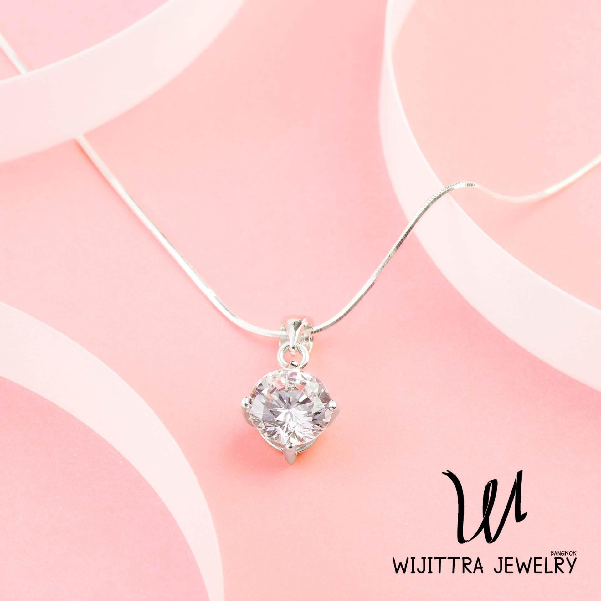 ขาย North Star Wijittra Jewelry สร้อยคอเงินแท้ 925 จี้เพชรสวิส Cubic Zirconia ชุบด้วยโรเดียม พร้อมกล่องเครื่องประดับ High End Octagonal Snake ปรับสายได้ 16 18 นิ้ว Wijittra Jewelry