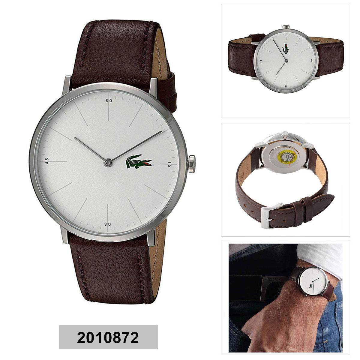 Lacoste Moon Ultra Slim Brown Stainless-Steel Case Leather Strap Mens 2010872