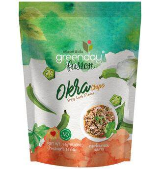Greenday Fusion Okra Chips Larb Flavor / กรีนเดย์ ฟิวชั่น กระเจี๊ยบกรอบรสลาบ 14 G (แพค 4 ซอง).