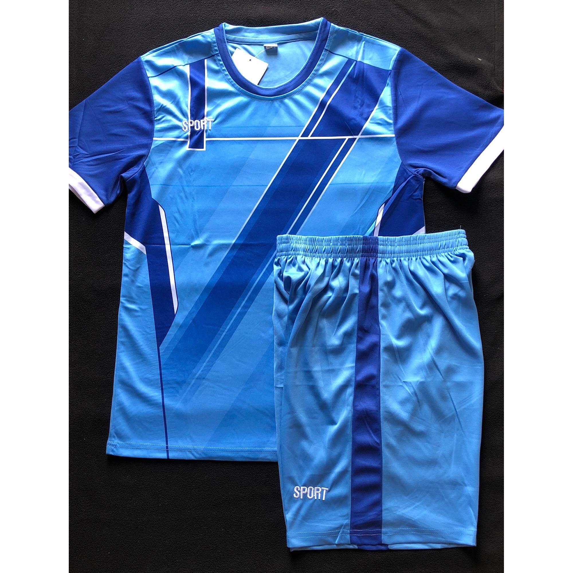 ส่วนลด Sports ชุดฟุตบอลสำหรับผู้ใหญ่ เสื้อ กางเกง สีฟ้าแต่งน้ำเงิน Model7 Sports