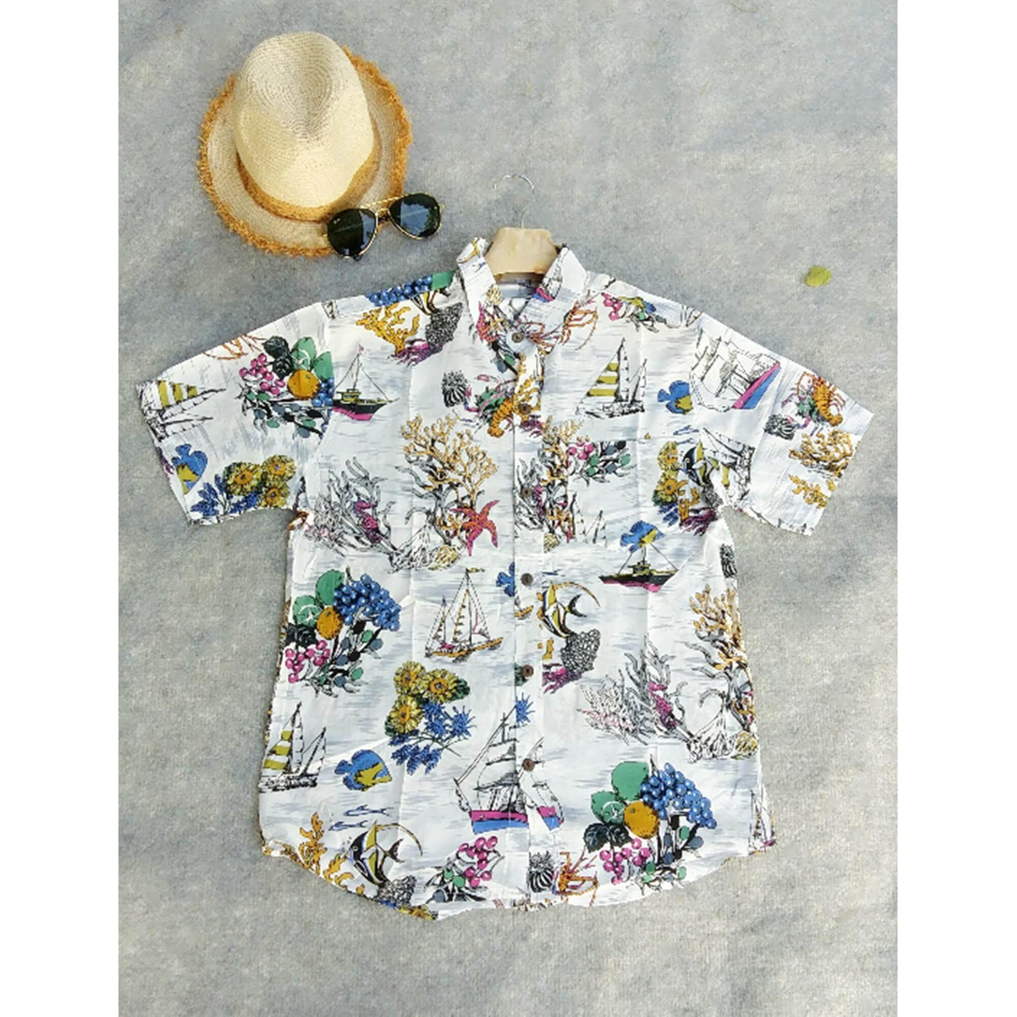 ซื้อ Mama Shop เสื้อเซิ้ตฮาวาย พิมพ์ลายประการัง พื้นสีขาว คอปก ไซส์ L ผ้านิ่มใส่สบาย รุ่น Mb 080 ถูก ใน Thailand