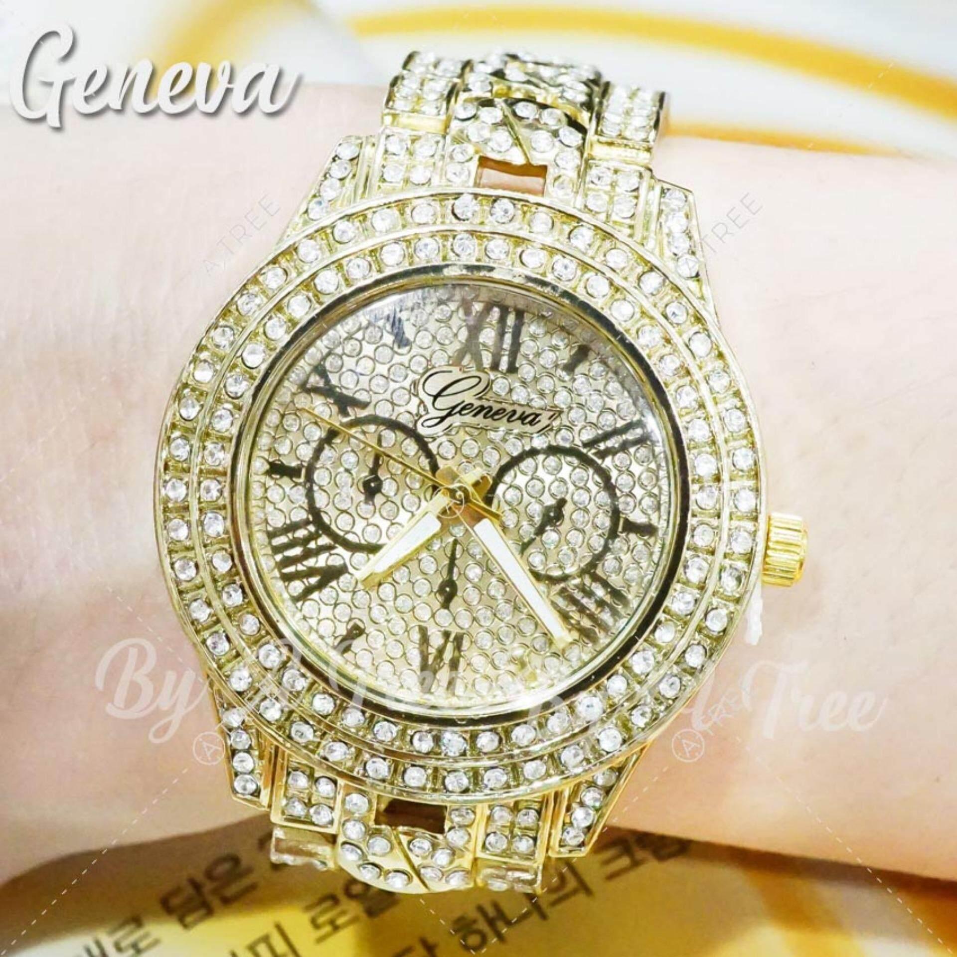 ซื้อ Geneva นาฬิกาข้อมือ สายแสตนเลส ฝังเพชรทั้งเรือน สไตล์ หรูหรา Diamond รุ่น Zd 0146 สีทอง ถูก กรุงเทพมหานคร