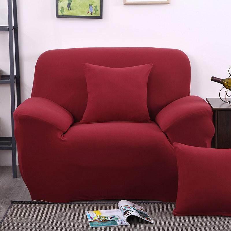 【promotion】1 ที่นั่งโซฟาคุณภาพสูงปกสีทึบโซฟาปลอกยืดยืดหยุ่นกันลื่นเบาะรองนั่ง - นานาชาติ.