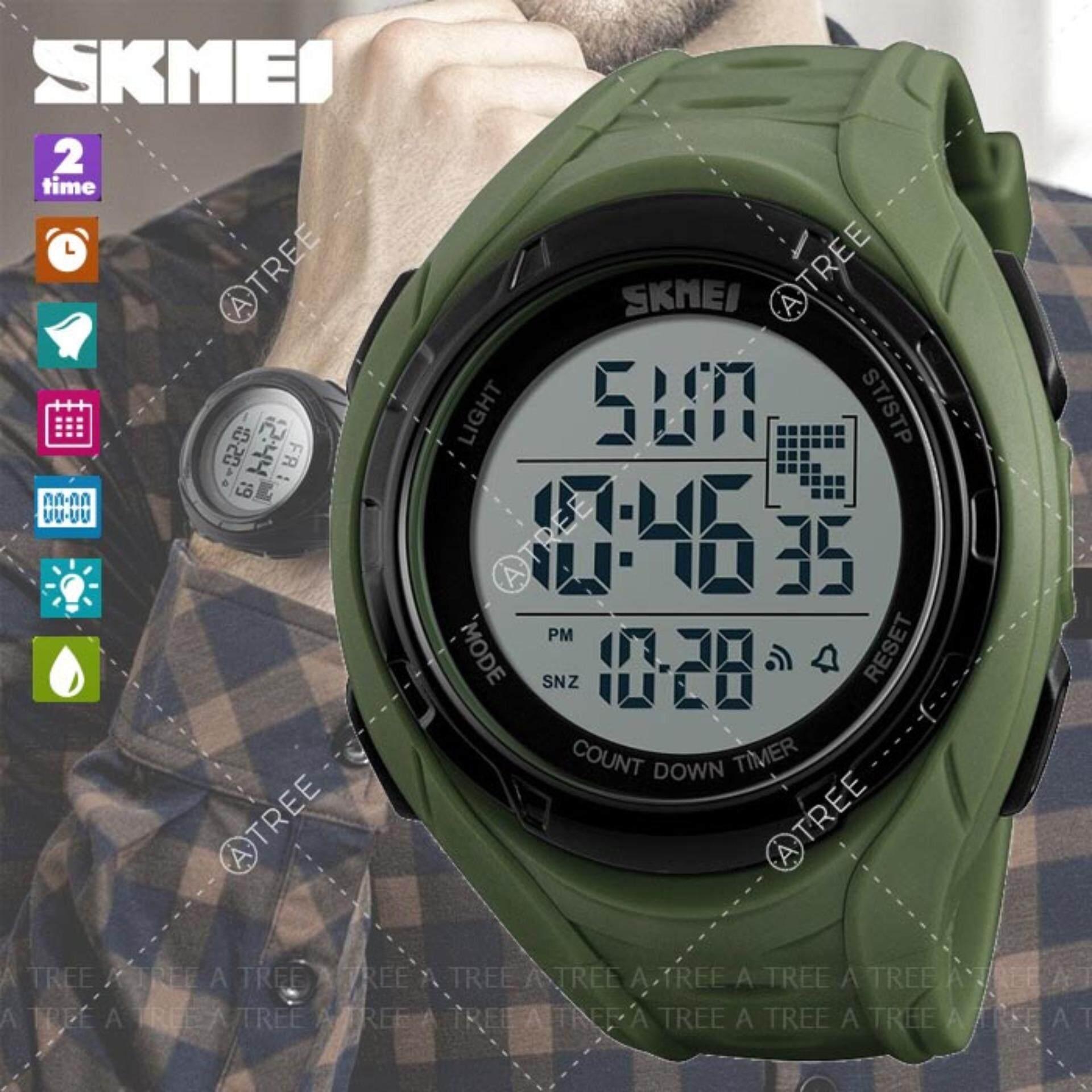 ขาย ซื้อ Skmei ของแท้ 100 ส่งในไทยไวแน่นอน นาฬิกาข้อมือ สไตล์ Sport Digital Watch บอกวันที่ ตั้งปลุก จับเวลา ตั้งเวลา 2 Time Zone ได้ ตัวเลข Led ใหญ่ ชัดเจน กันน้ำ สายเรซิ่น รุ่น Sk M1313 สีดำ สีเขียว เทา น้ำเงิน Multicolor