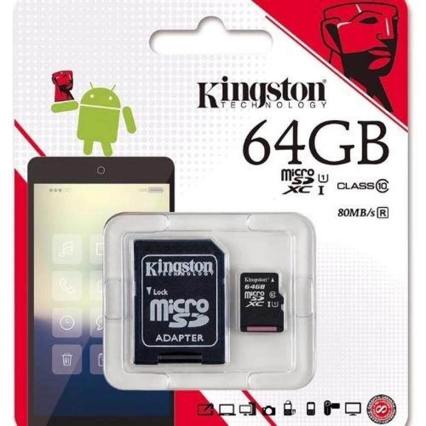 Kingston เมมโมรี่การ์ด Micro Sd (sdhc) 64 Gb Class 10 Speed 80mb/s.