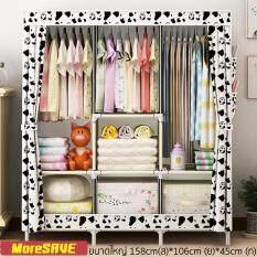 KUMALL ตู้เสื้อผ้า พร้อมช่องเก็บของ ตู้เก็บเสื้อผ้า Big 3 บล๊อค ขนาดใหญ่ สไตล์ญี่ปุ่น แข็งแรงและทนทานด้วยท่อเหล็กใหญ่เป็นพิเศษ พร้อมช่องเก็บของมีผ้าคลุม ประกอบง่าย 3 Block wardrobe FreeGift