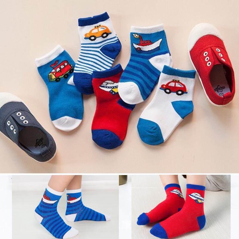 ถุงเท้าเด็ก ❤️ Im Baby ถุงเท้าแฟชั่น สไตล์เกาหลี 1 เซต 5 คู่5สี ลายรถcarน่ารัก ใส่สบายมาก ไซส์ S-M/1-6ปี.