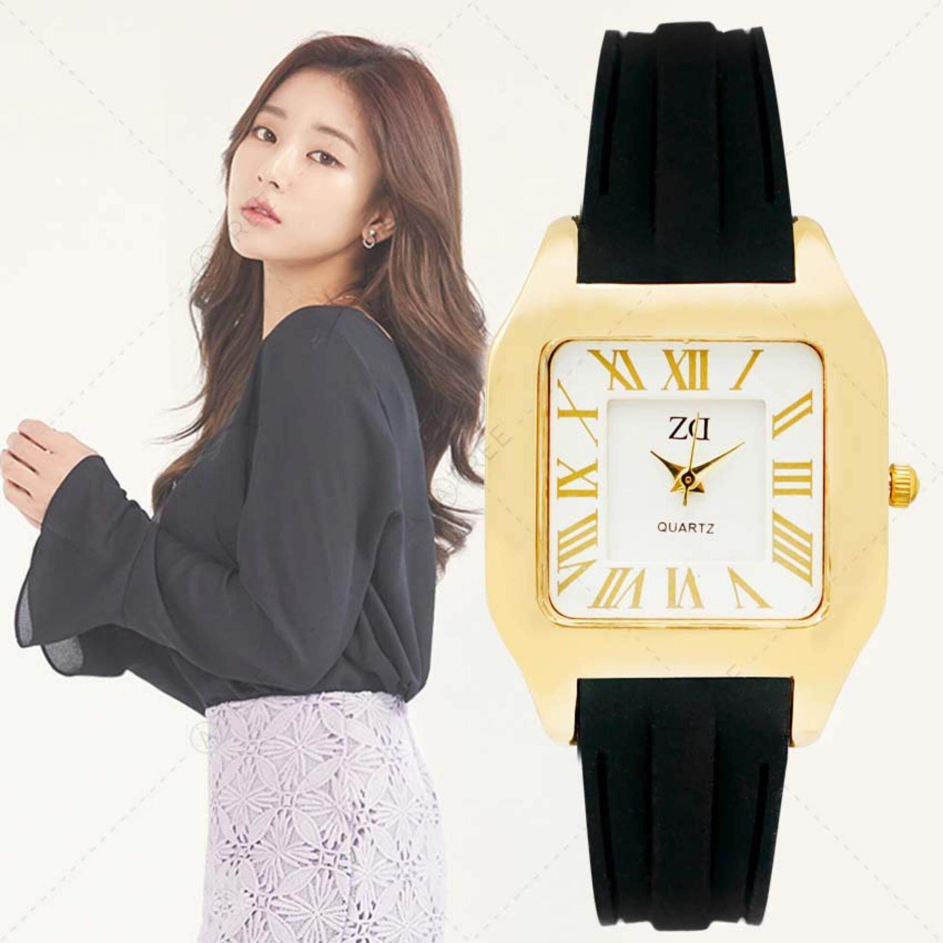 ราคา Zazzy Dolls นาฬิกาข้อมือผู้หญิง หน้าปัดดีไซน์เก๋ สไตล์เกาหลี สายเรซิ่นสีดำ รุ่น Zd 0125 สีดำ Black Zazzy Dolls เป็นต้นฉบับ
