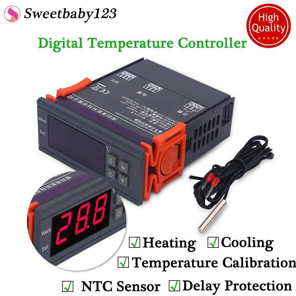 Mini Digital ตัวควบคุมอุณหภูมิ 220 โวลต์ 10a จอแอลซีดีแสดงผลที่ควบคุมอุณหภูมิสำหรับตู้เย็นฟาร์ม - Intl.