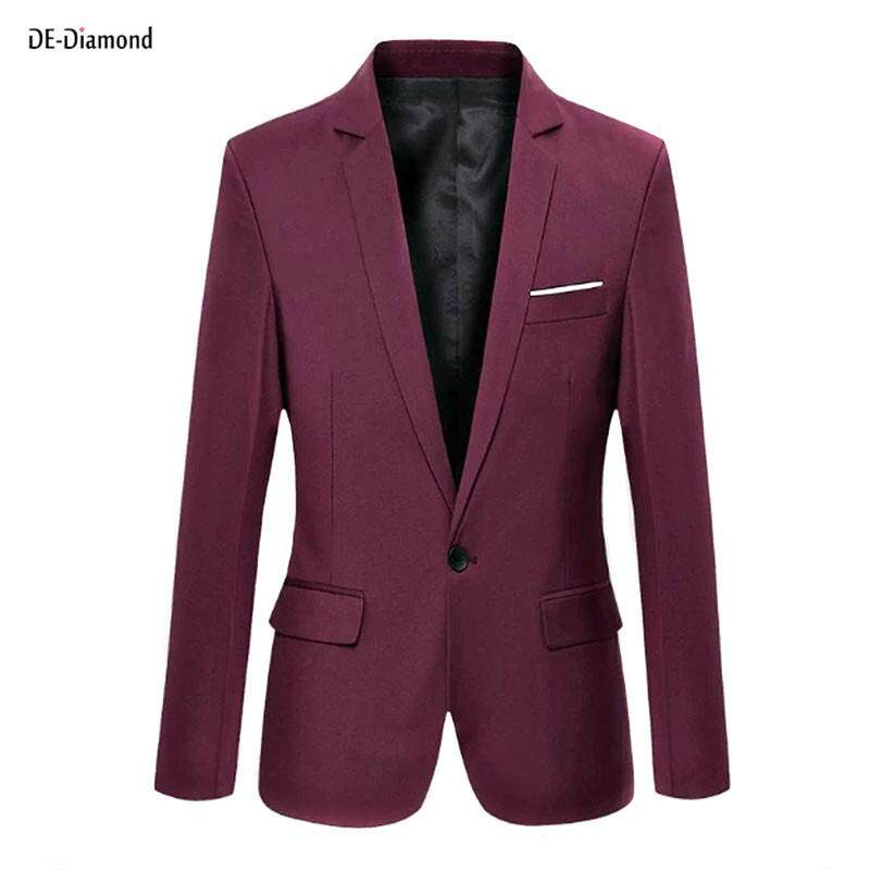 เสื้อสูทผู้ชายเข้ารูปแฟชั่น สีทึบ ไซส์ S-6xl By De-Diamond.