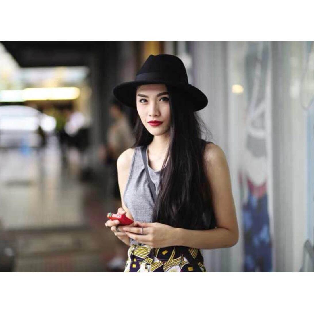 หมวกปานามา สีดำ ผ้าวู.