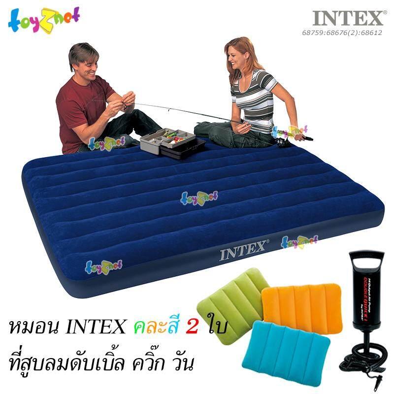Intex ที่นอนเป่าลม แค้มป์ แคมป์ปิ้ง ปิคนิค 5 ฟุต (ควีน) 1.52x2.03x0.22 ม. รุ่น 68759 + หมอนคละสี 2 ใบและที่สูบลมดับเบิ้ลควิ๊ก วัน.
