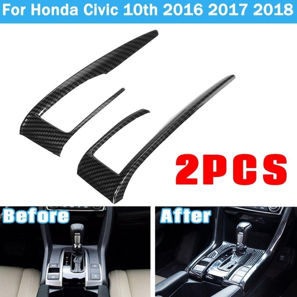 Gear Shift Frame Cover Trim Carbon Fiber Style For Honda Civic 2016