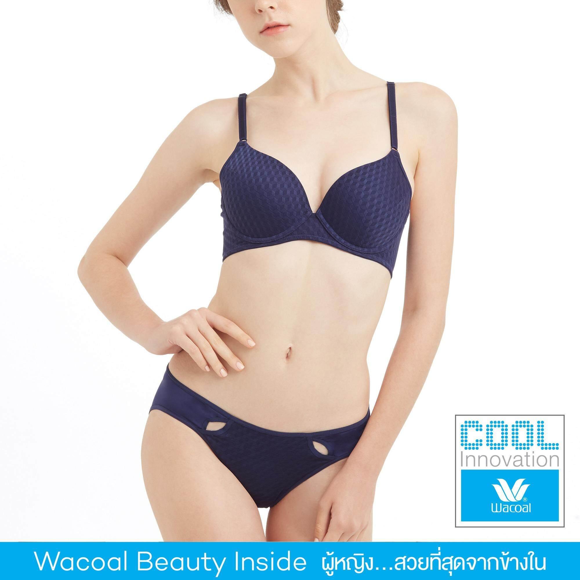Wacoal Cool innovation เซ็ทชุดชั้นในกางเกงชั้นใน Push up Bra 3/4 Cup (สีน้ำเงินเข้ม/NAVY BLUE) - WB3K21NB-W63K21NB