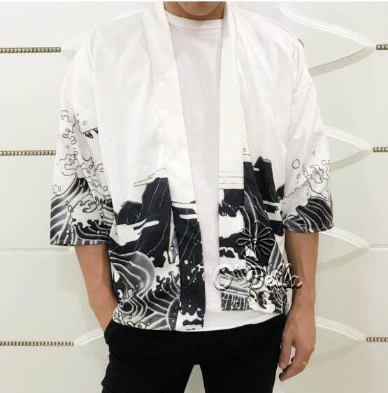 เสื้อคลุมญี่ปุ่นสำหรับผู้ชาย ลายมังกรขาว/มังกรดำ สไตล์กิโมโนลายสักชายสีดำ เสื้อคลุมแฟชั่น Men Japanese Yukata Coat Kimono Outwear Vintage Loose Top Dragon By Bunnydollgirl.