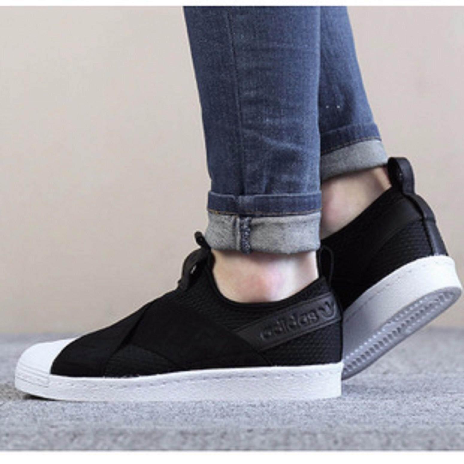 ขายดีมาก! ADIDAS SLIP ON อาดิดาส รองเท้าผ้าใบ แฟชั่น SUPERSTAR USA BLACK (รุ่นใหม่ล่าสุด) ++ลิขสิทธิ์แท้ 100% จาก ADIDAS พร้อมส่ง ส่งด่วน kerry++