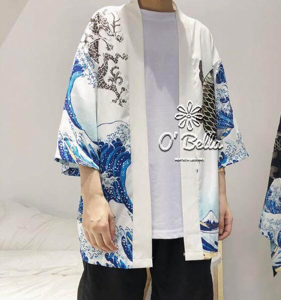 เสื้อสไตล์ญี่ปุ่นสำหรับผู้ชาย Mens Harajuku Ukiyo Fish เสื้อแจ็กเก็ตกิโมโน Casual Streetwear By Bunnydollgirl.