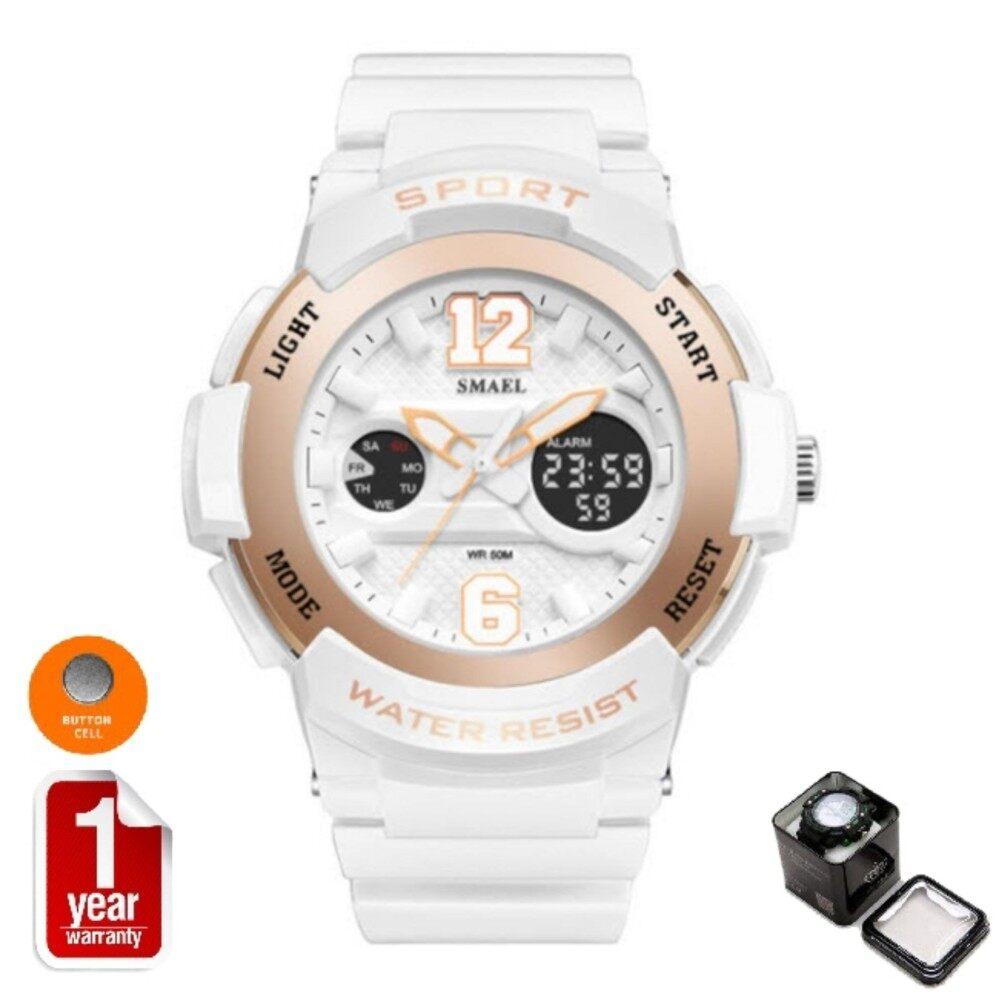 ราคา Smael นาฬิกาข้อมือผู้หญิง Sport Digital Led Analog รุ่น Sm1632 White Rosegold ราคาถูกที่สุด
