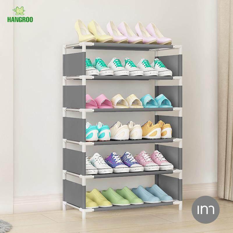 Hangroo ชั้นวางรองเท้า ตู้เก็บรองเท้า ที่เก็บรองเท้า ชั้นวางอเนกประสงค์ ขนาด 6 ชั้น 5 ช่อง By Hangroo.