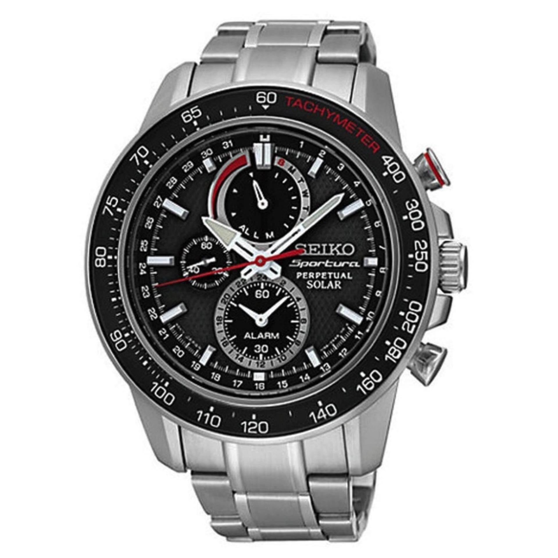 นครนายก Karnvera Shop Seiko นาฬิกาข้อมือผู้ชาย Sportura Perpetual Alarm Chronograph Solar Powered Watch SSC357P1