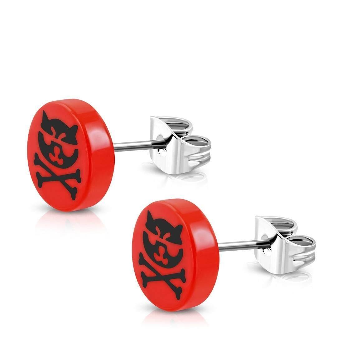 10 มมสแตนเลสสตีลสตั๊ด W / Red อะคริลิค 3 โทน Crossbones แมววงกลมวงกลมวงเล็บ (คู่) By Pro Jewelry.