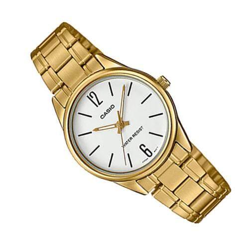 Casio Standard นาฬิกาข้อมือผู้หญิง สแตนเลส รุ่น LTP-V005G-7BUDF (สีทอง/หน้าขาว)