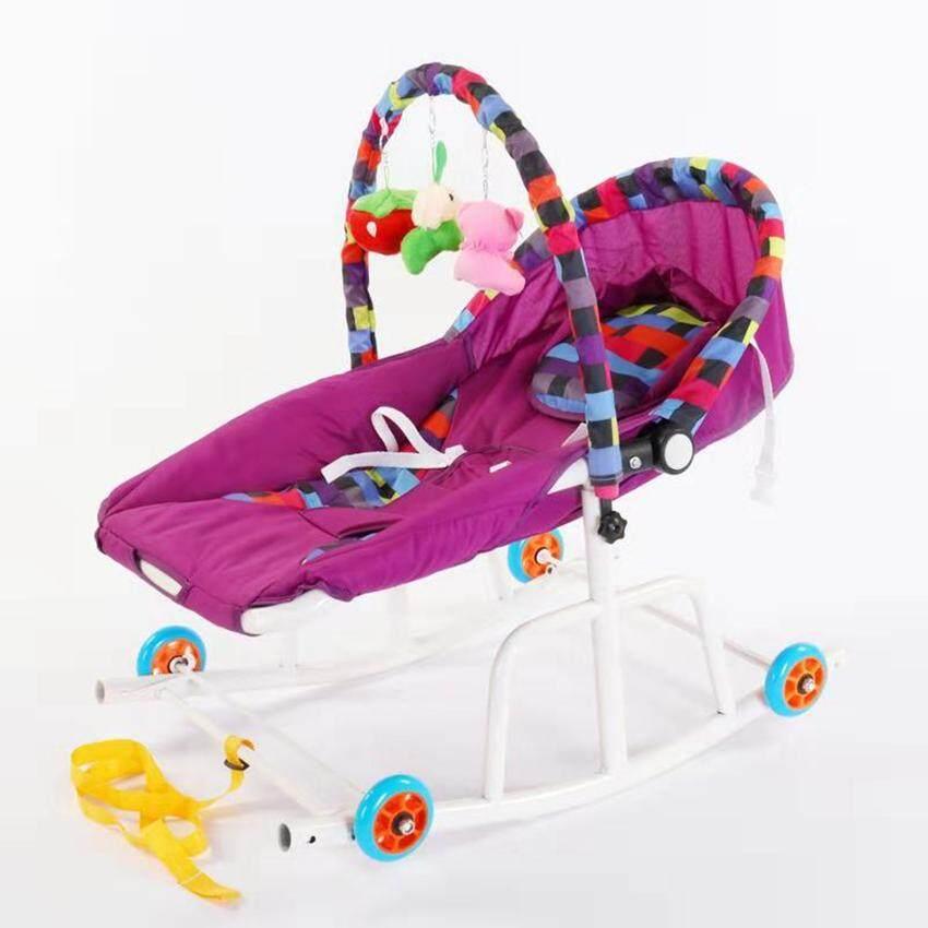 baby life เปลโยกเด็ก แบบใหม่ 5 in1 มีของเล่น: มีไฟ มีเสียง สั่นได้ มีล้อ มีสายจูง เข็นได้ยกได้  แข็งแรง ขนาด:ก40* ย80* ส70 ซม. ทารกถึงเด็กปรับได้3ระดับ รุ่น:Y9