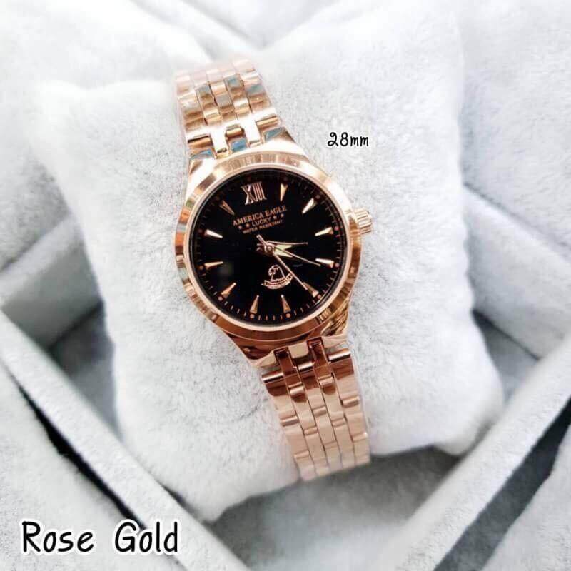 America Eagle นาฬิกาข้อมือผู้หญิง สายเลท สีพิ้งโกลด์ หน้าปัดดำ สินค้าแท้ 100% กันน้ำได้ (มีเก็บเงินปลายทาง).