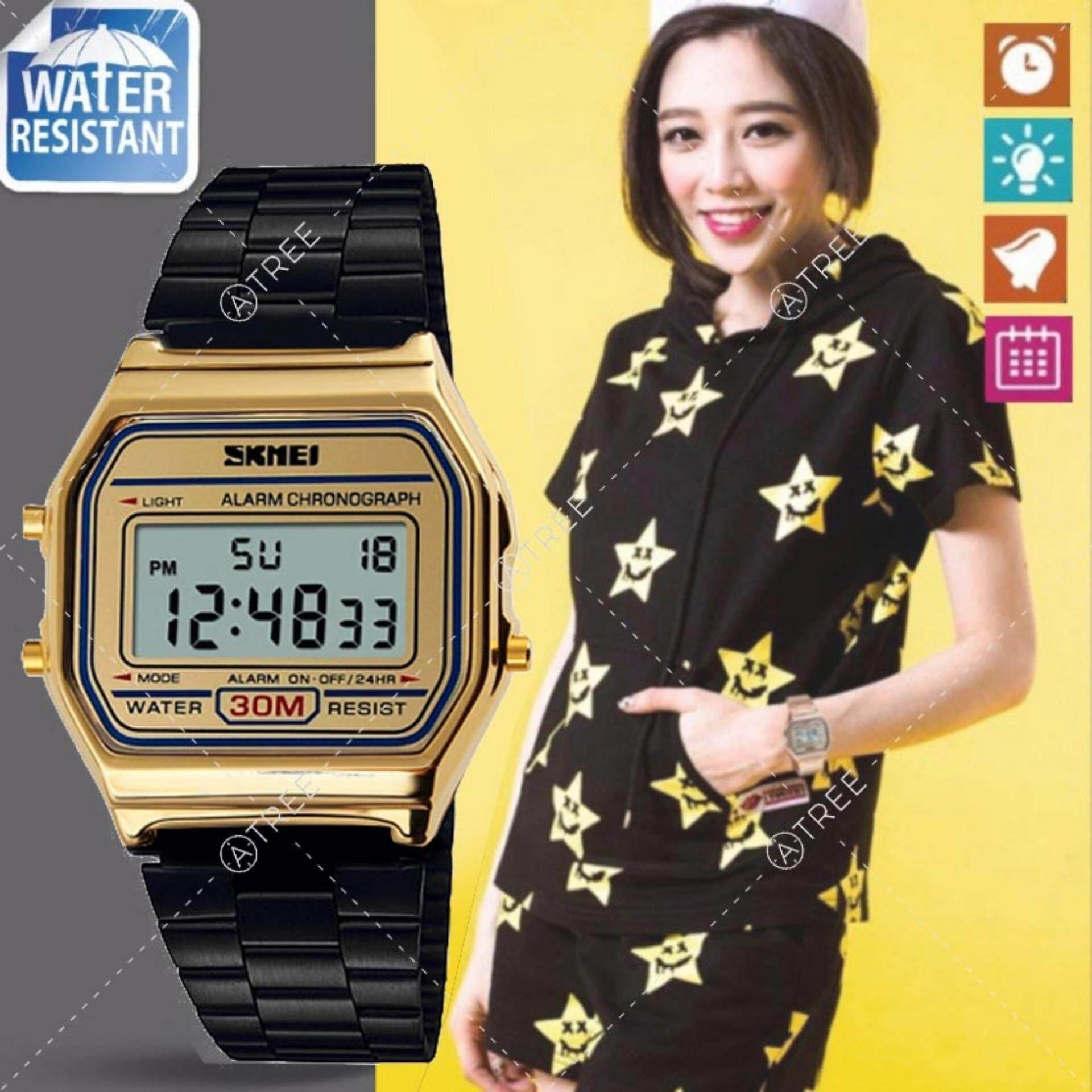 ซื้อ Skmei ของแท้ 100 ส่งในไทยไวแน่นอน นาฬิกาข้อมือ สไตล์ Casual Bussiness Watch จับเวลา ตั้งปลุกได้ ไฟ Led ส่องสว่าง สายแสตนเลสสีดำ ฮิตสุด รุ่น Sk M1123 สีดำ ทอง Black