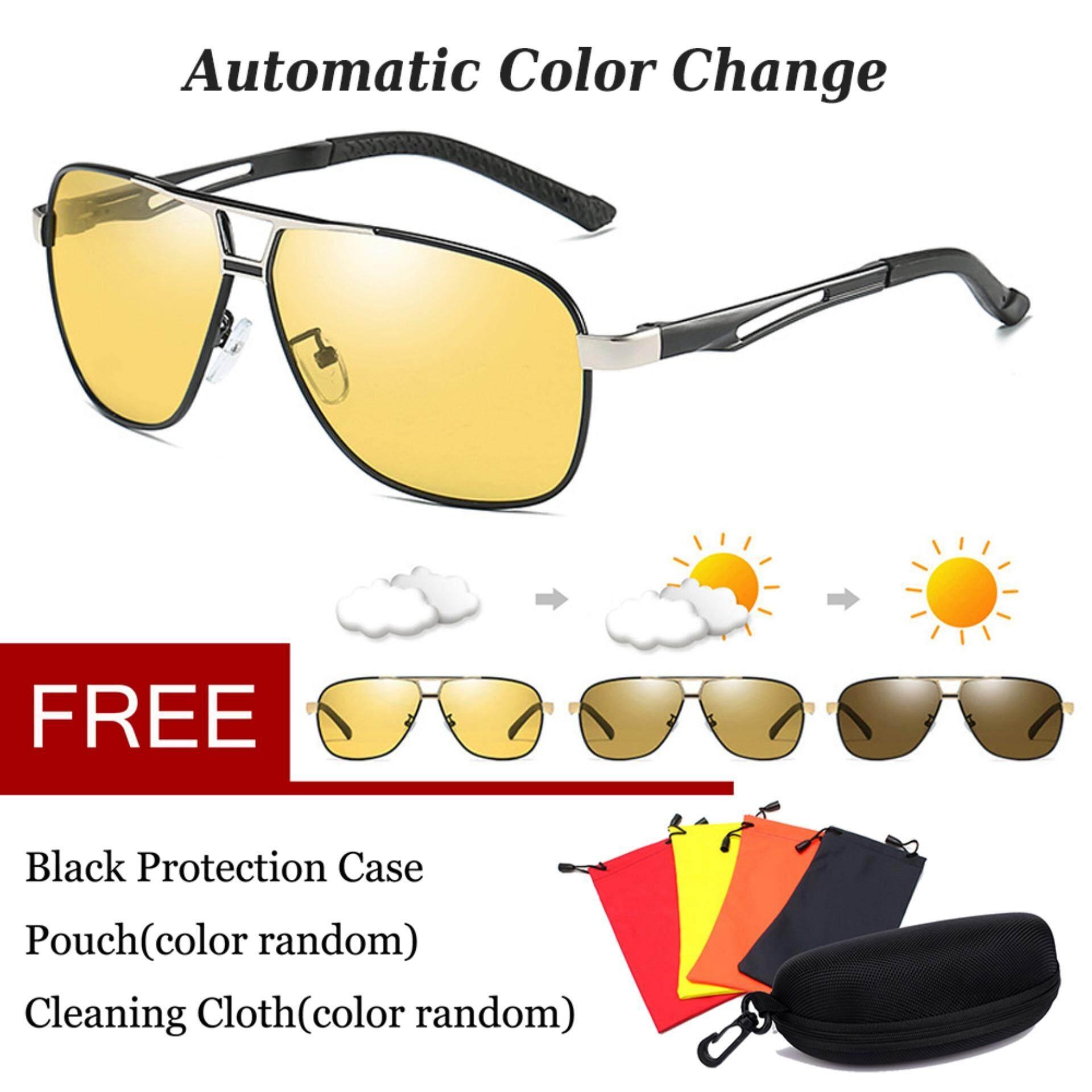เลนส์เปลี่ยนสีโพลาไรซ์แว่นตากันแดดเปลี่ยนสีเปลี่ยนสีเลนส์การมองเห็นได้ในเวลากลางคืนอลูมิเนียมแว่นตา Anti Glare HD แว่นตาสำหรับขับรถ UV400 Unisex