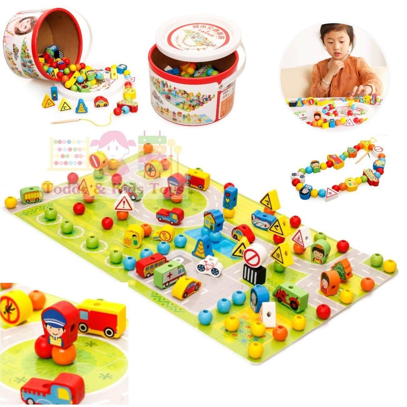 Todds Kids Toys ของเล่นเสริมพัฒนาการ ร้อยเชือกไม้สร้างเมือง 80 ชิ้น Todds Kids Toys ถูก ใน กรุงเทพมหานคร