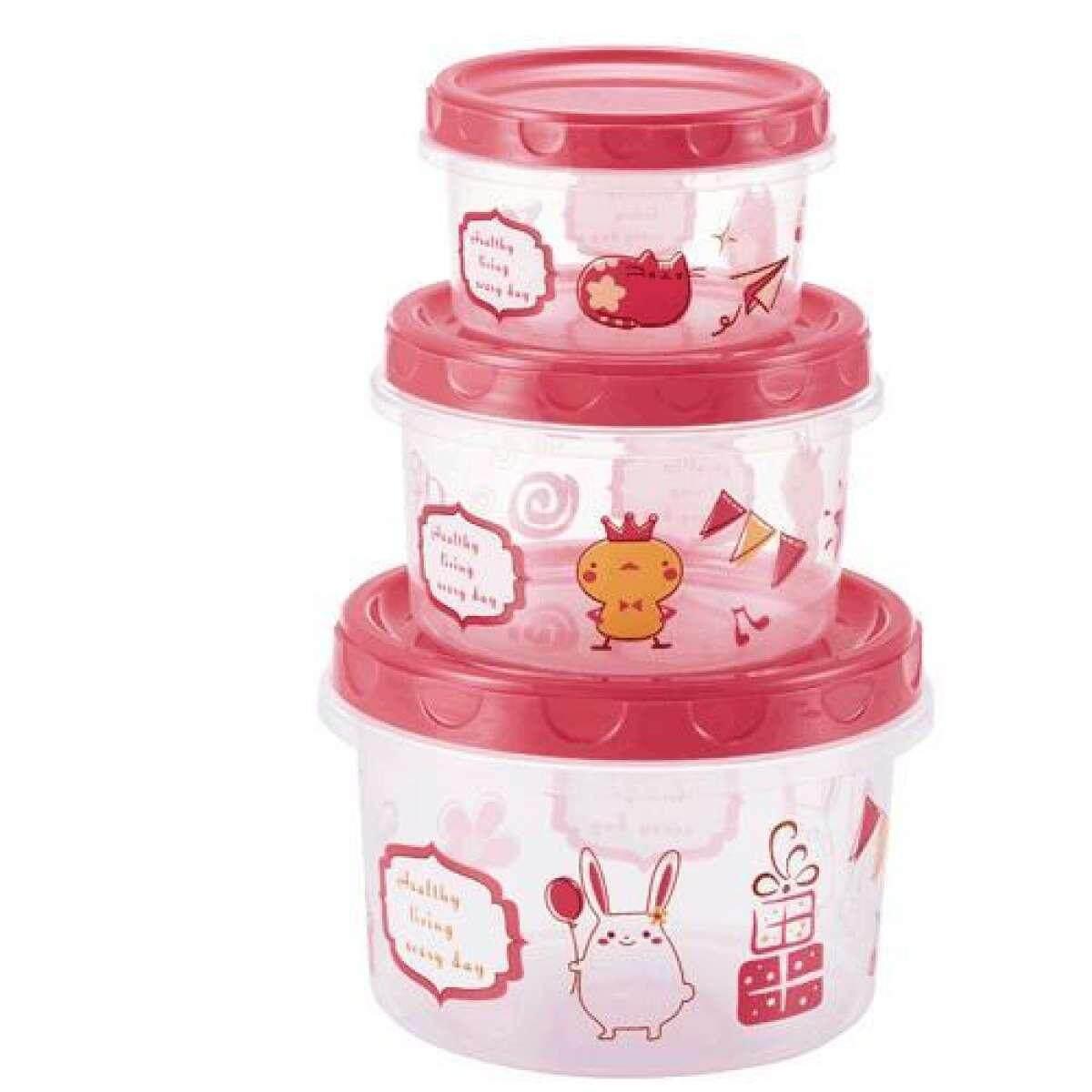 กล่องใส่อาหารทรงกลมลายการ์ตูน 3ชิ้น/ชุด สีแดง By Cleanmate24.