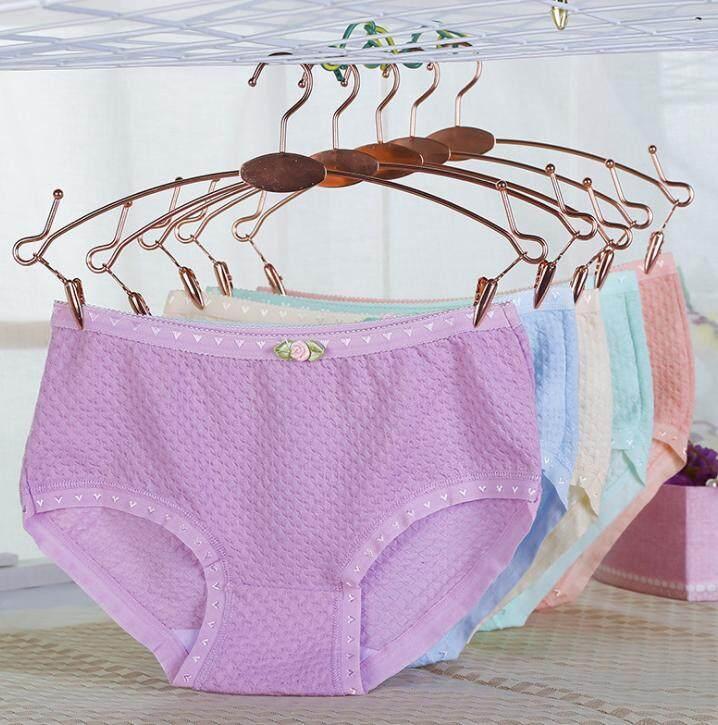 Fashion กางเกงในสตรี สีพื้น แพ็ค 4 ตัว  สีสันสวยงาม (คละสี)รุ่น 012