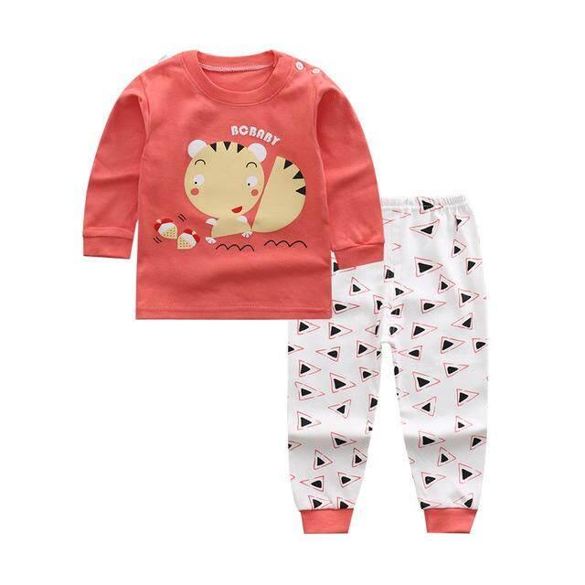 เสื้อผ้าเด็ก ชุดนอนเด็ก 2 ชิ้น เสื้อ+กางเกง ผ้า Cotton100% Size 80-100 .