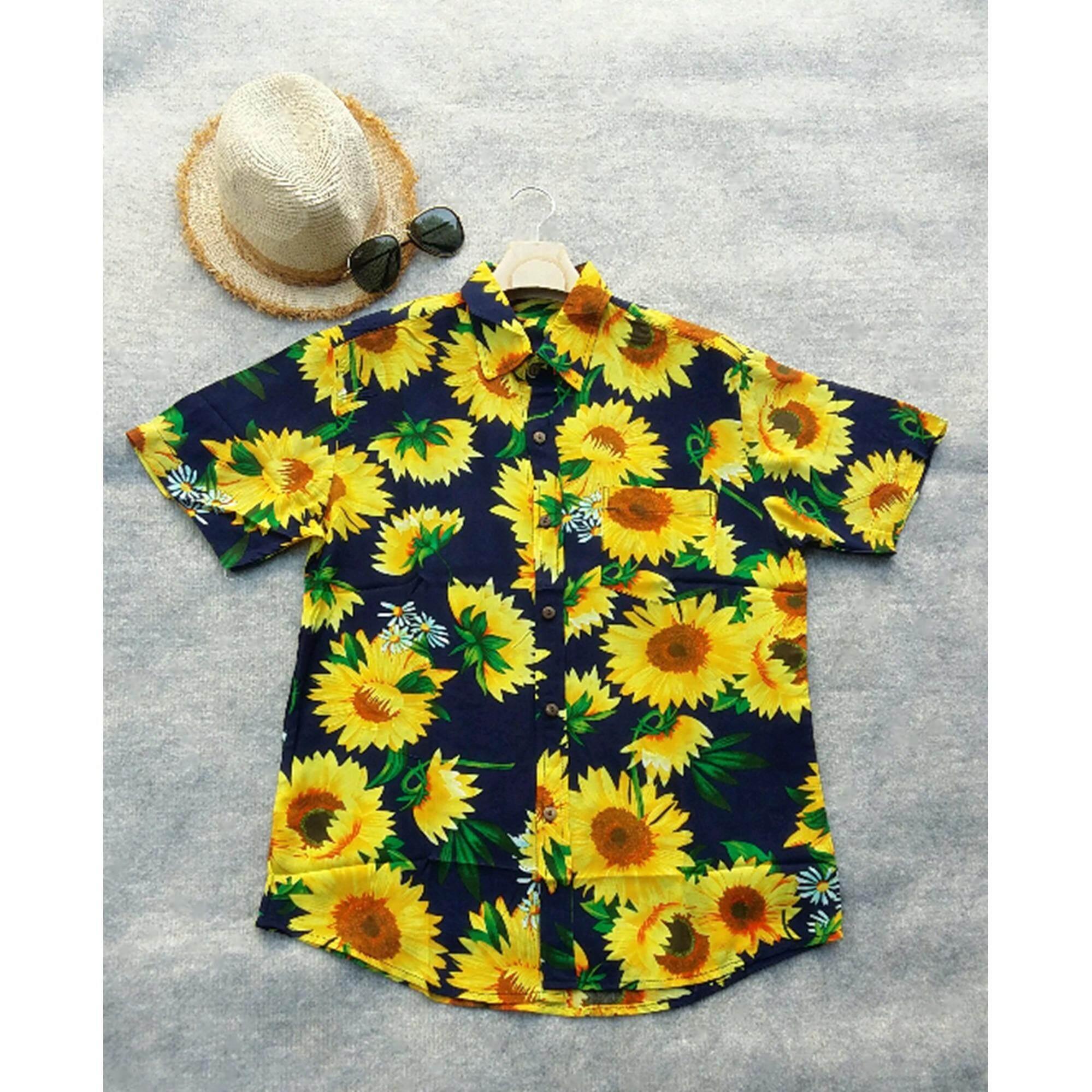 Mama Shop เสื้อเซิ้ตฮาวาย พิมพ์ลายดอกทานตะวันสีเหลือง พื้นสีน้ำเงินเข้ม คอปก ไซส์ M ผ้านิ่มใส่สบาย รุ่น Mb 112 Mama Shop ถูก ใน Thailand